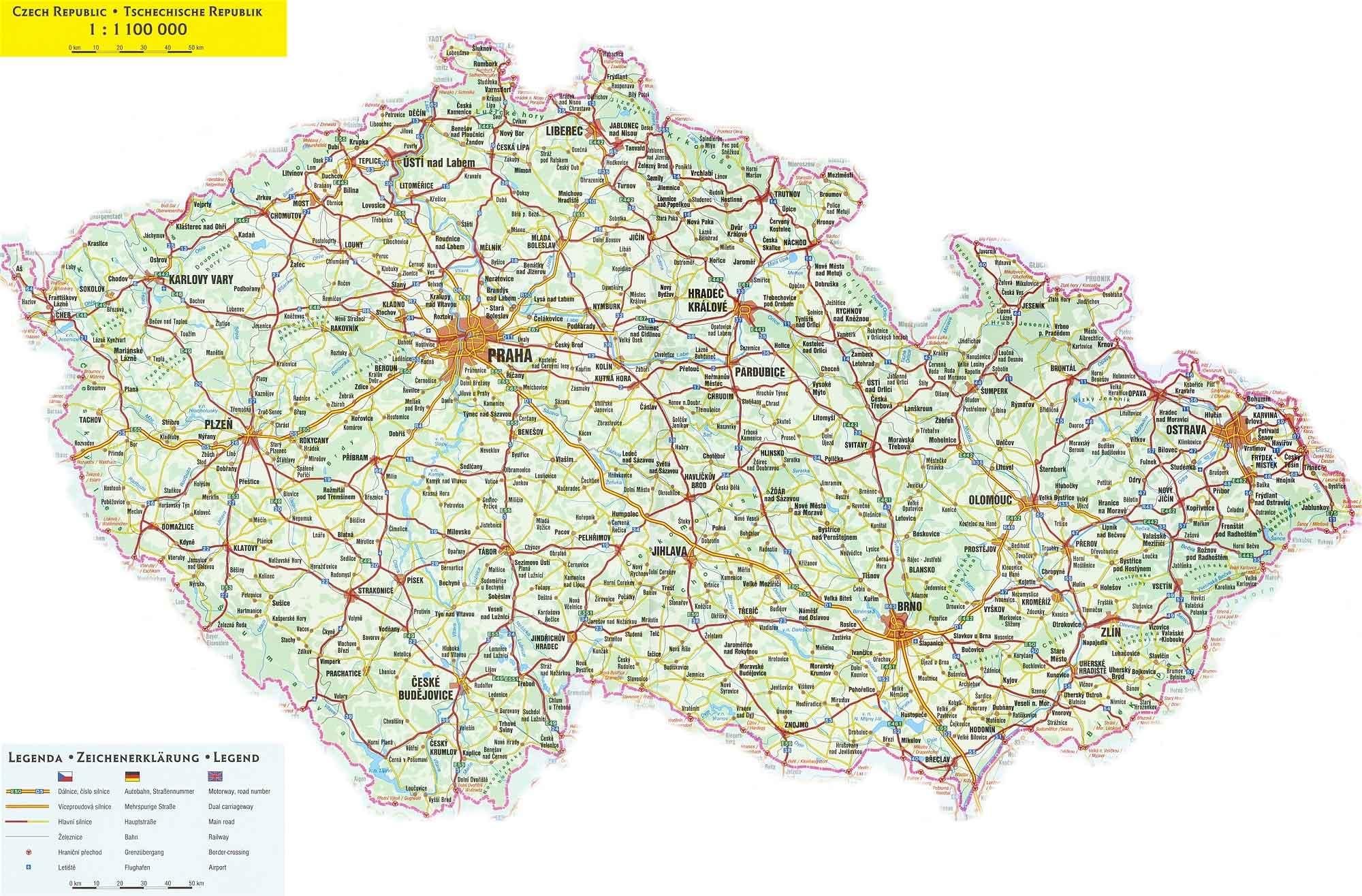 Большая административная карта чехии
