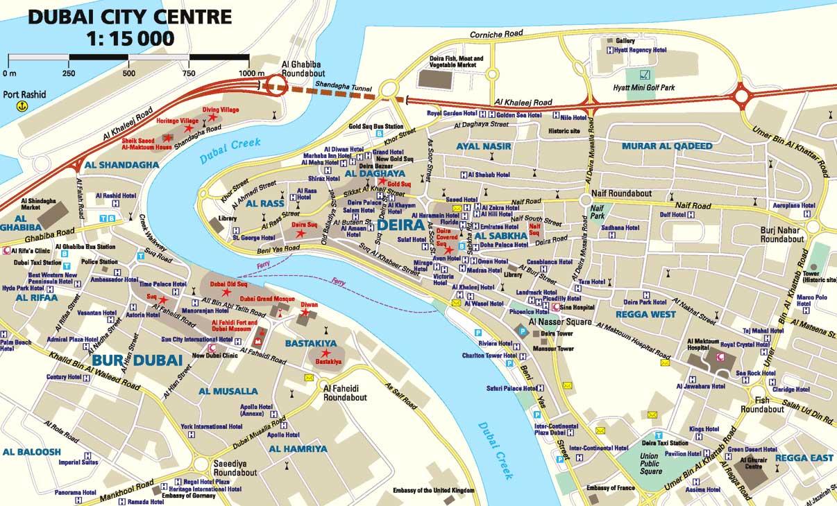 Большая административная карта дубая