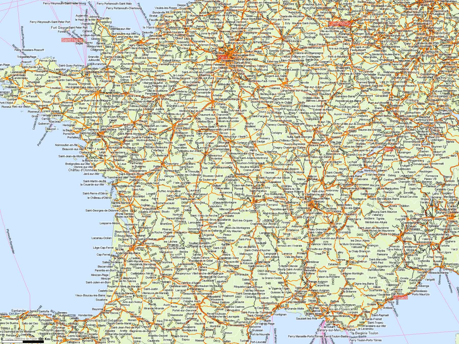Карта франции map of france
