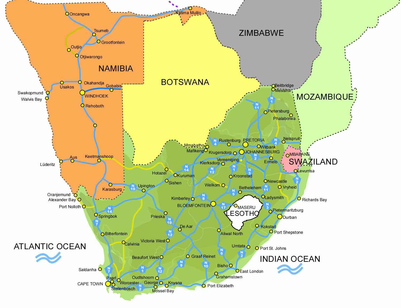 Большая административная карта юар map