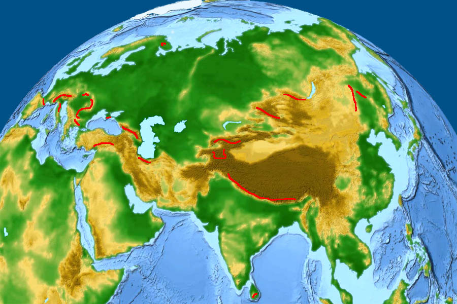 ������� ����� �������. Map of Mountains of Eurasia